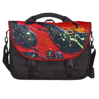 Red and Black Abstract Art Laptop Commuter Bag