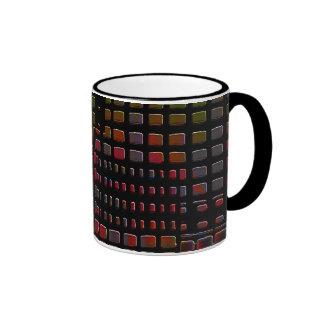 red and black abstract design coffee mug
