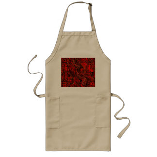 Red and Black Abstract Long Apron