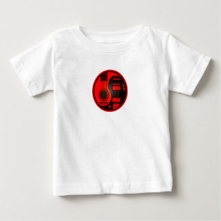 Red and Black Acoustic Electric Guitars Yin Yang Baby T-Shirt