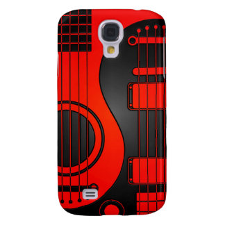 Red and Black Acoustic Electric Guitars Yin Yang Samsung Galaxy S4 Case