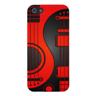 Red and Black Acoustic Electric Guitars Yin Yang Cover For iPhone 5