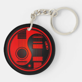 Red and Black Acoustic Electric Guitars Yin Yang Keychain