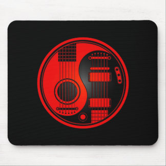 Red and Black Acoustic Electric Guitars Yin Yang Mouse Pad