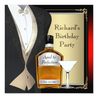 Red and Black Aged to Perfection Birthday Party 5.25x5.25 Square Paper Invitation Card
