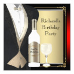 Red and Black Aged to Perfection Birthday Party Personalized Announcements