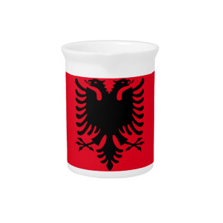 Red and Black Albanian Beverage Pitcher