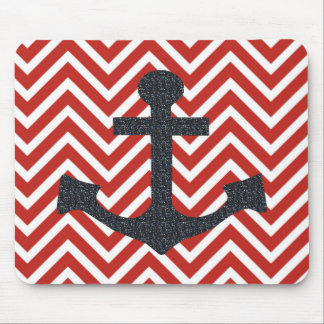 Red and Black Anchor Mousepad