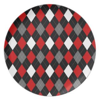 Red and Black Argyle Dinner Plate