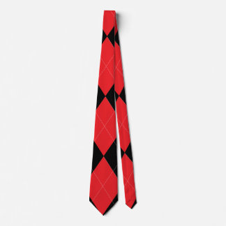 Red and Black Argyle Double Sided Neck Tie