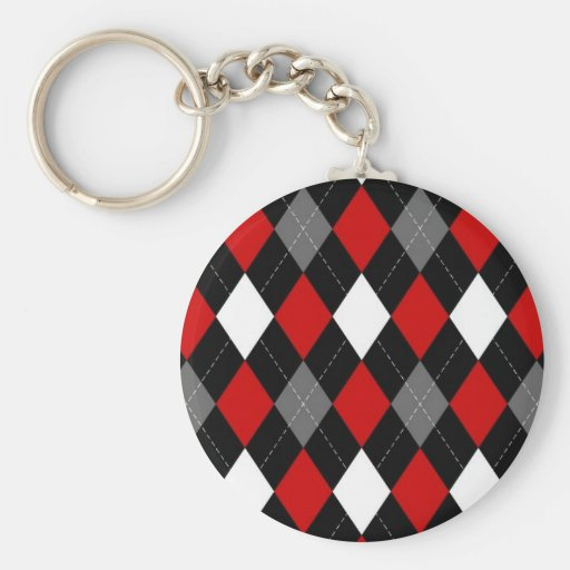 Red and Black Argyle Key Chain