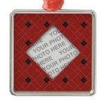 Red and Black Argyle Photo Metal Ornament