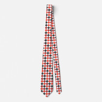 Red and Black Argyle Tie