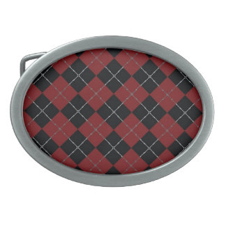 Red and Black argyle with bone detail Belt Buckle