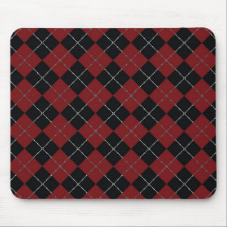Red and Black argyle with bone detail Mouse Pad