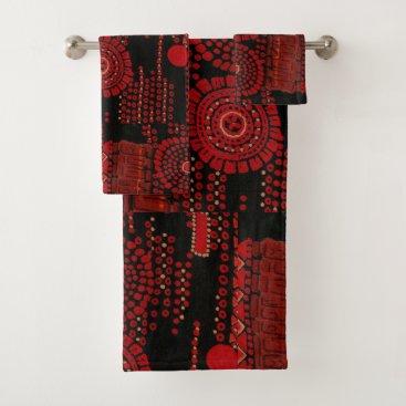 Red and Black Art Moderne Design Bath Towel Set