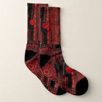 Red and Black Art Moderne Design Socks