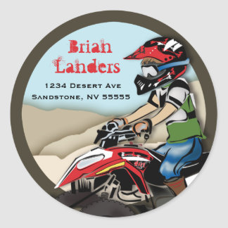 Red and Black ATV Kid Address Label Classic Round Sticker