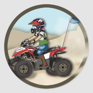 Red and Black ATV Kid Round Sticker