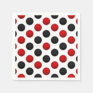 Red and Black Basketball Pattern Paper Napkin