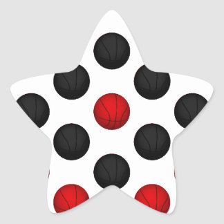 Red and Black Basketball Pattern Star Sticker