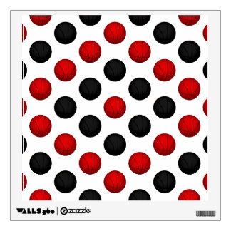 Red and Black Basketball Pattern Wall Decal