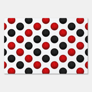 Red and Black Basketball Pattern Yard Signs
