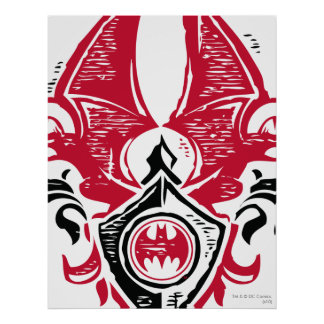 Red and Black Bat Stamp Crest Poster