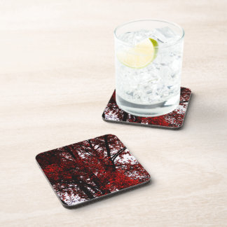 RED AND BLACK BEVERAGE COASTER