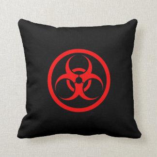 Red and Black Bio Hazard Circle Throw Pillows