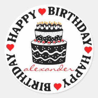 Red and Black Birthday Cake Round Sticker