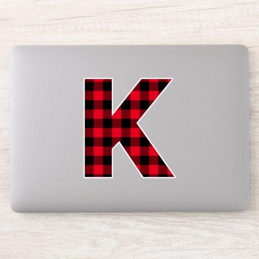 Red and Black Block Letter Monogram Sticker