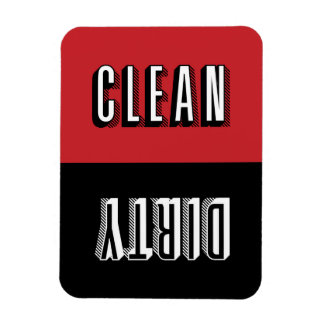Red and Black Block Modern Typography Dishwasher Magnet