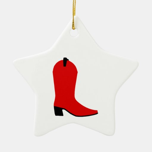 Red and Black Boot Ceramic Ornament