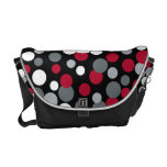 Red and Black Bouncing Dots Messenger Bag