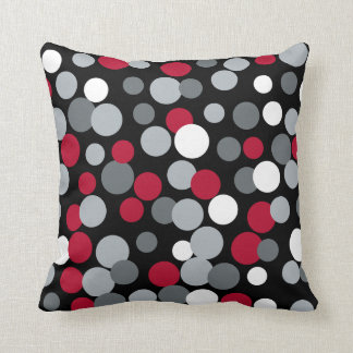 Red and Black Bouncing Dots Pillow