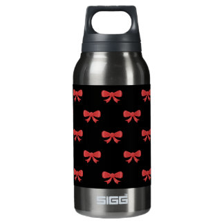 Red and Black Bow Pattern. Insulated Water Bottle
