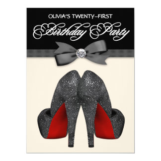Red and Black Bow Tie Womans Birthday Party Card