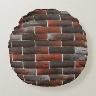 RED AND BLACK BRICK WALL ROUND PILLOW