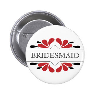 Red and black BRIDESMAID 2 Inch Round Button