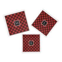 Red and Black Buffalo Check Custom Monogram Acrylic Tray