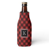 Red and Black Buffalo Check Custom Monogram Bottle Cooler