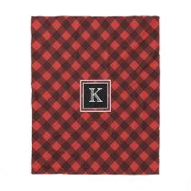 Red and Black Buffalo Check Custom Monogram Fleece Blanket