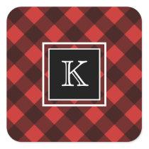 Red and Black Buffalo Check Custom Monogram Square Sticker