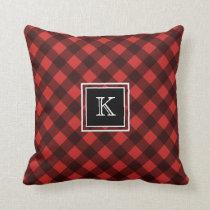 Red and Black Buffalo Check Custom Monogram Throw Pillow