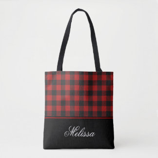 Red and Black Buffalo Check Gingham   Personalized Tote Bag