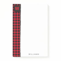 Red and Black Buffalo Check Monogram 4 x 6 Post-it Notes