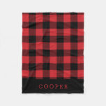 Red And Black Buffalo Check Monogram Fleece Blanket at Zazzle
