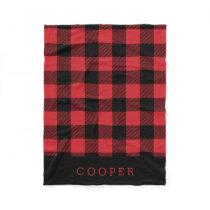 Red and Black Buffalo Check Monogram Fleece Blanket