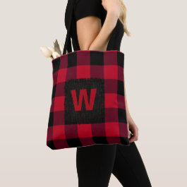 Red and Black Buffalo Check Monogram Tote Bag